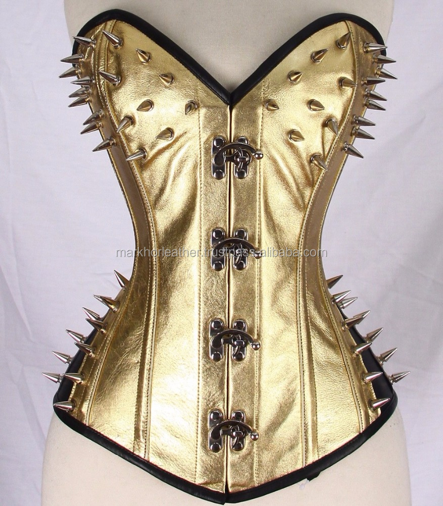 New Spikes Gold Steam Punk Real Leather Corset