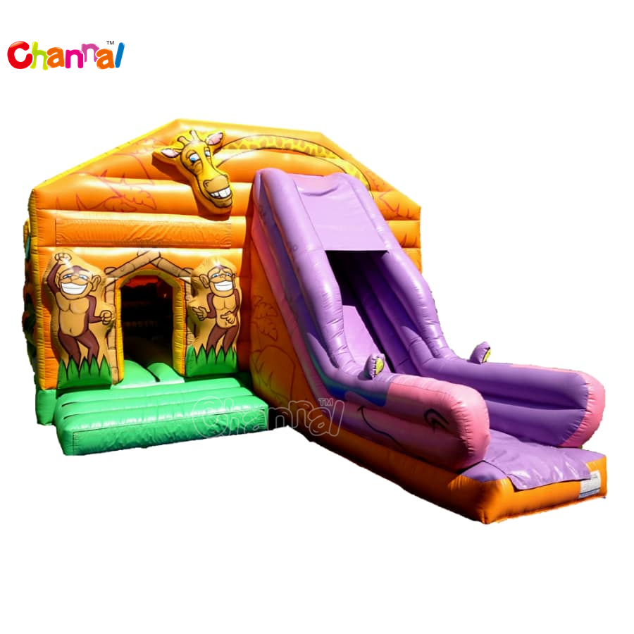 the cheap zoo inflatable jump castle inflatable combo Inflatable Bounce House with slide for kids play