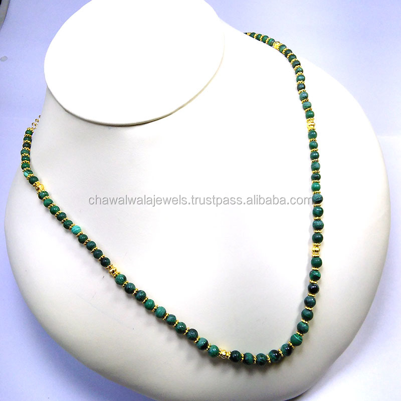 Natural MALACHITE ROUND WITH GOLD CHAIN Bead Necklace Jewelry