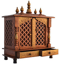 Indian Wooden Pooja Mandir Mandap Religious God Temple