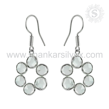 Women required crystal gemstone designer earring 925 sterling silver jewelry exporter