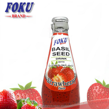 Basil Seed Drink with Strawberry Flavor Glass Bottled From Thailand
