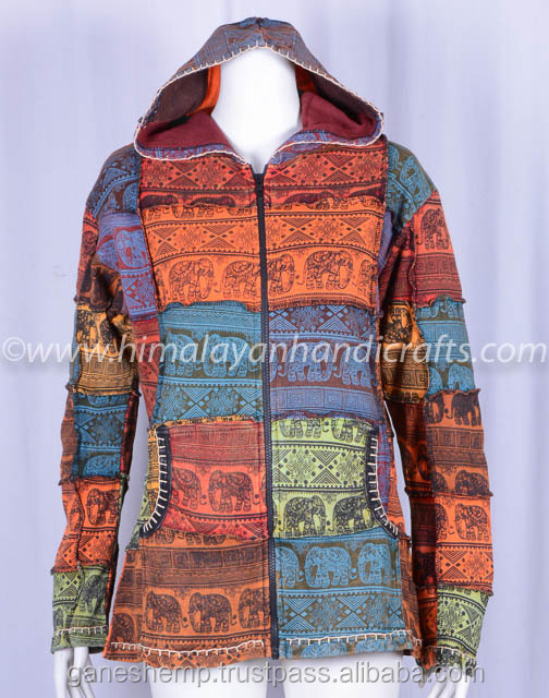 ELEPHANT PRINT MULTI COLOR PATCH WORK STYLISH PRINT ENZYME WASH BOHEMIAN LADIES HOODIE CSWJ 467