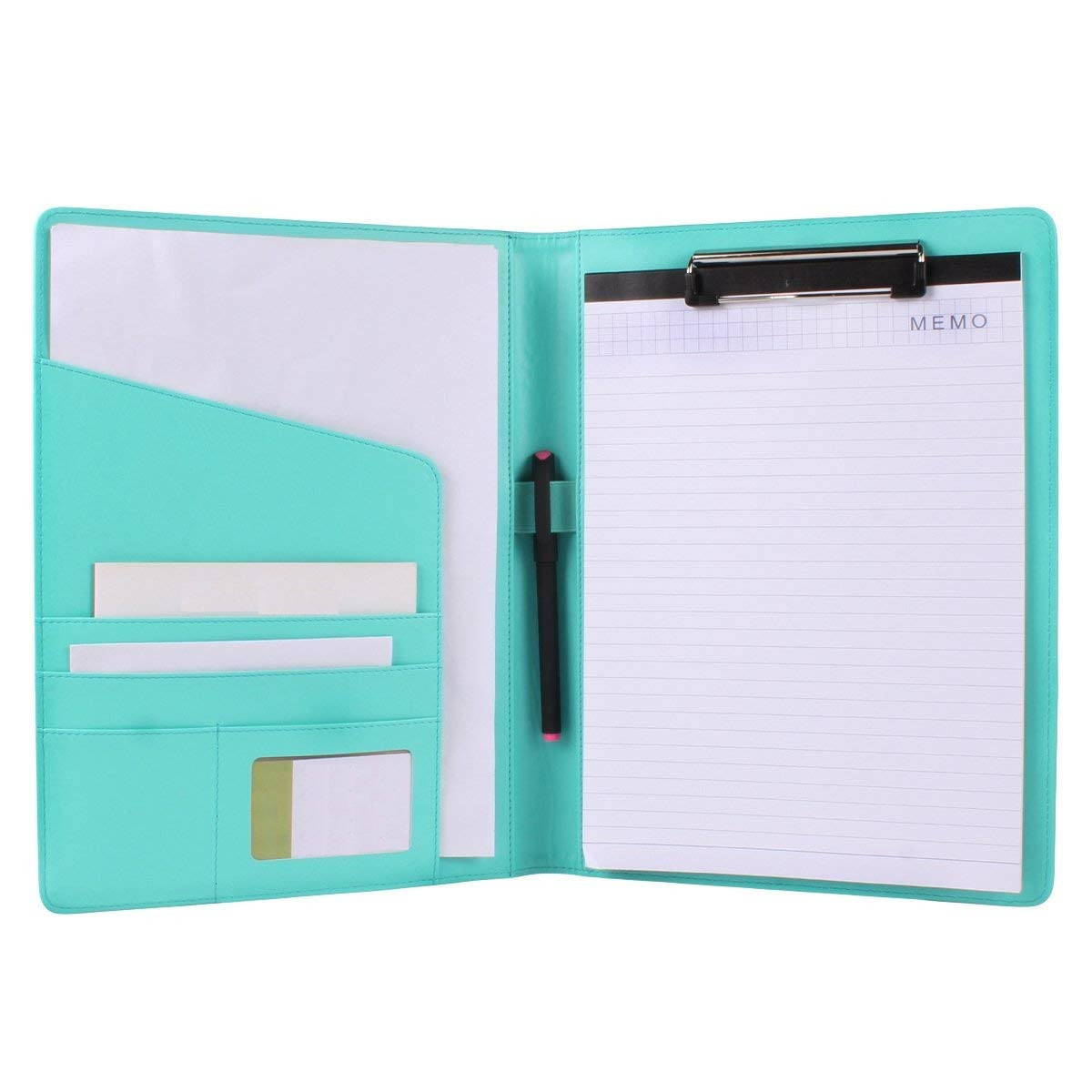 Personalized high quality leather fashion office folder in black