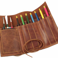 Vintage Style Leather Roll Up Pencil