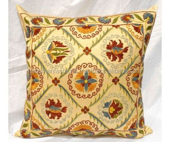 Vintage Suzani Cushion Cover Floral Sofa Throw Suzani Cushion Cover Home Decorative