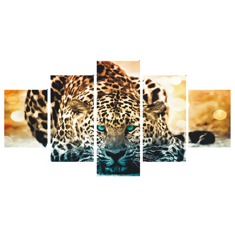 Frameless tiger head animals 5 pieces abstract painting DIY digital canvas painting wall art <strong>picture</strong> for home wall painting