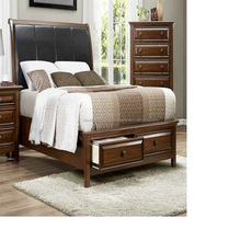 BROWN POLISHED WOODEN DOUBLE BED WITH STORAGE 16