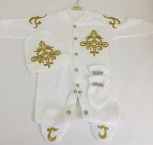 3 Pieces High European Quality Gold Jewel Crowned Baby Gift Romper Set
