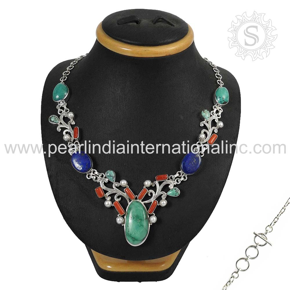 Solid natural multi gemstone silver 925 sterling necklace handmade indian silver jewelry wholesaler