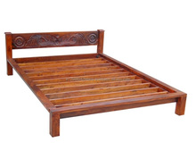 Indian Style Solid Wood Bedroom Furniture Carved Narrow Headboard Double Bed