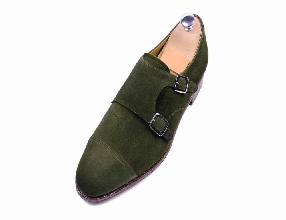 Men Green Double Monk Suede Leather Shoes