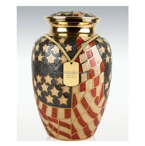 Solid Brass Large Cremation Urn With flag