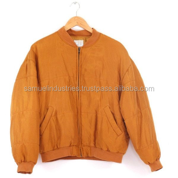 New Arrival OEM Sporty Two Tone Satin Zipped Bomber Jacket\Vintage Silk Old Gold Bomber Jacket\Orange Bomber Jacket For Men