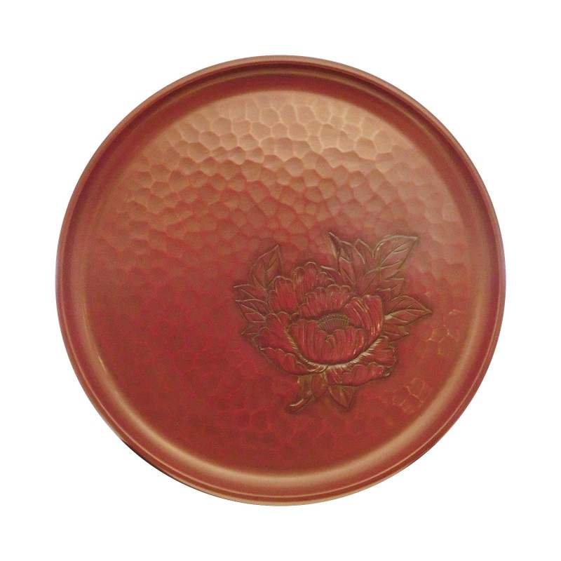 27cm (D) *2cm (H) Traditional Craft Japanese Round Wood Tray with Katsura wood