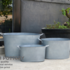 Set Of 3 Oval Zinc Pot
