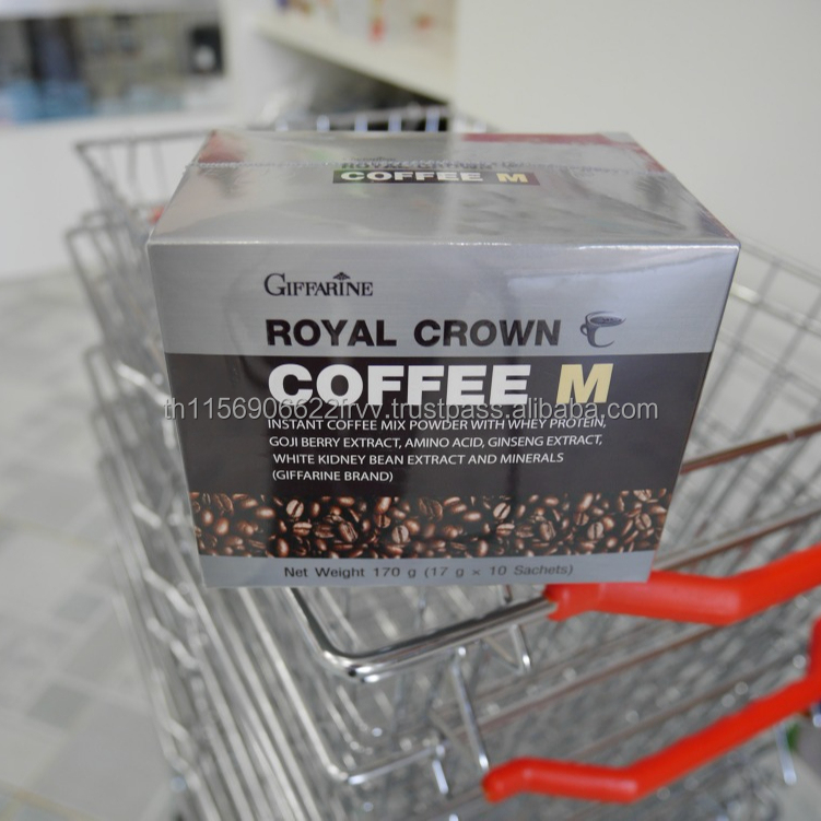 Giffarine Royal Crown Coffee M Instant Coffee Mix Powder with Whey Protein, Goji Berry Extract, Amino Acid, Ginseng Extract, etc