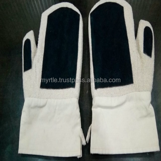 Best Quality New Design Protective Cotton Oven Mitten with split leather palm and thumb