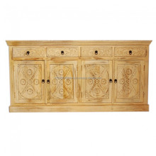 Indian Style Solid Wood Four Doors Four Drawers Carved Buffet Sideboard