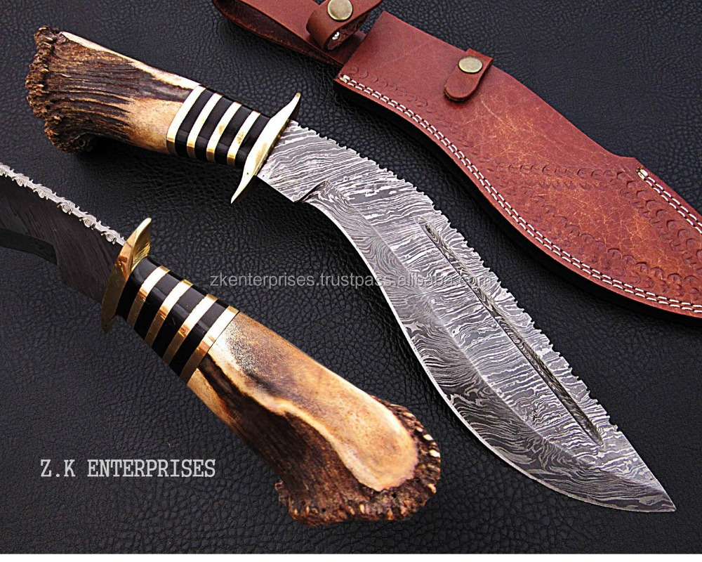 Custom Handmade Damascus Knife (Kukri) with Stag and Brass Handle