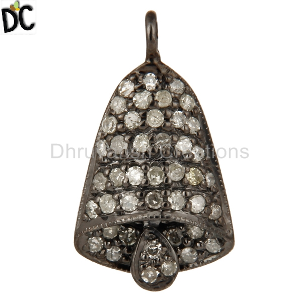 Handmade Bell Charm Finding Pave Diamond Sterling Silver Pendant Girls Jewelry Supplier