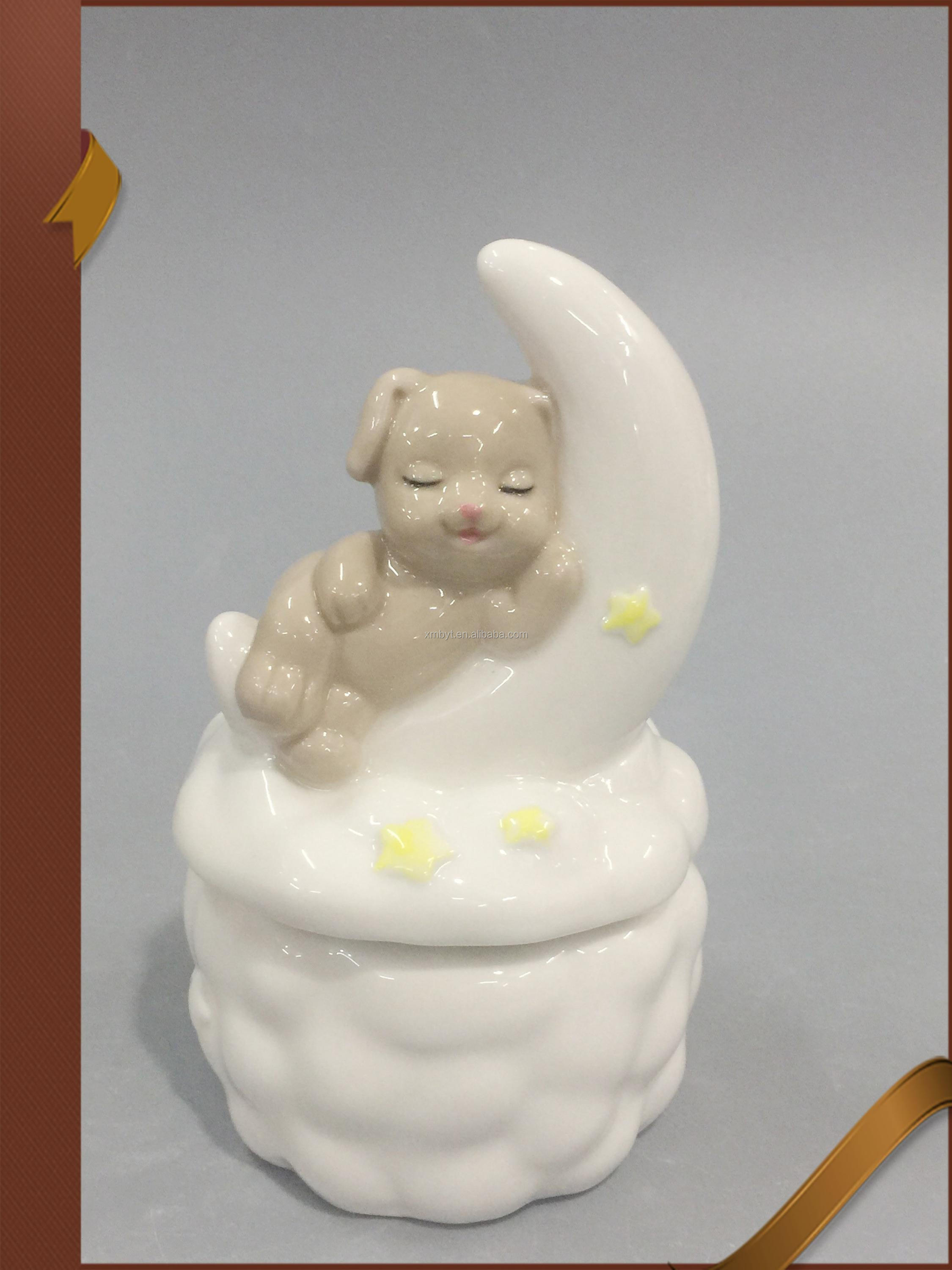 Small bear porcelain angel figurines with cake stand