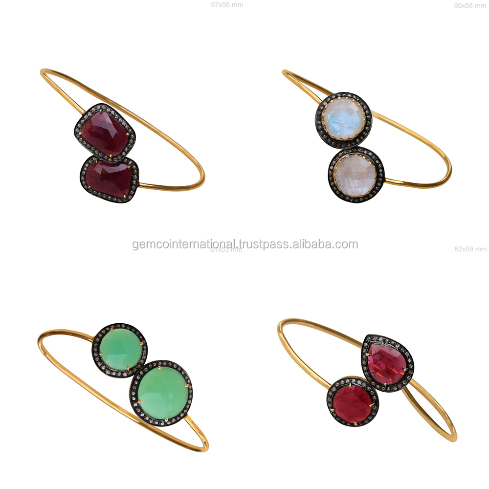 14k Gold Gemstone Bangle Designs for Beautiful Womens Jewelry
