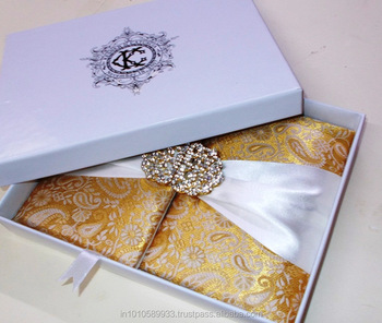 Handmade wedding Silk Invitation folio with ribbon brooch pocket letterpress designer printing inserts mailing box rsvp envelop