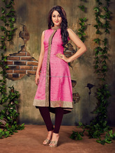 2017 Latest Festival Party Special Occasion wear Premium Quality Baby Pink Colored Silk Kurti