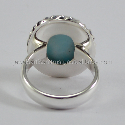 Unique 디자이너 Natural Blue 구리 터키석 Sterling Silver 링