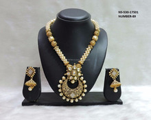 South Indian Flower Shaped Necklace Set- Wholesale Traditional Bridal Wedding 18k Gold Plated Jewelry With Pearls