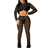 Net Design High Waist Crop Top private label jumpsuit sexy Long Sleeve