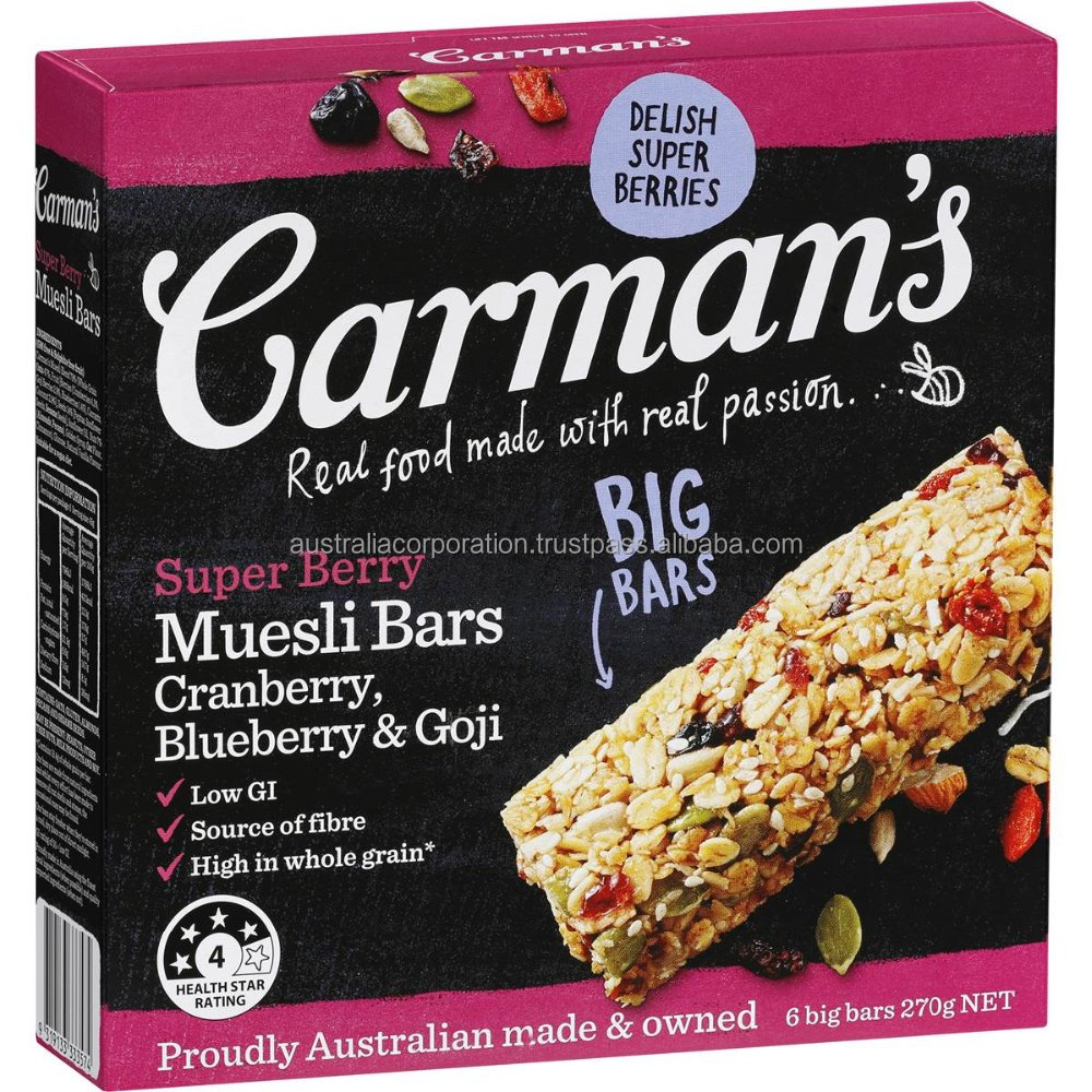 Carman's Super Berry Muesli Bars Cranberry, Blueberry & Goji 6pk 270g breakfast cereal