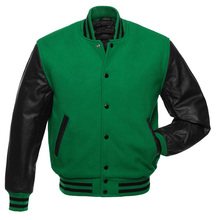 MANUFACTURER OF BODY WOOL WITH LEATHER ARM PLAIN VARSITY JACKETS/New Fashion Men's Leather Arm & Wool Body