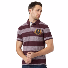 Big and tall dark red block striped polo shirt/customized stylish men's casual cotton polo T Shirt