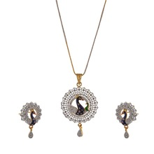 Zephyrr Fashion Peacock Pendant Necklace Earrings Set with AD Meenakari