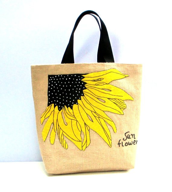 black web handles Sunflower jute tote bag, hand appliqued ,beach tote bag