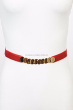 Skinny Fashion Belt with Gold Accent Trendy Cute YBC-2001