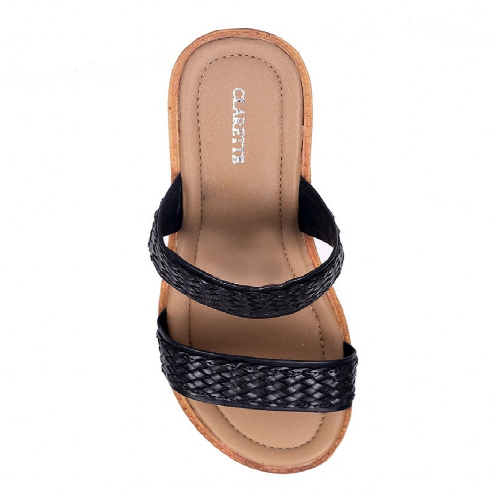 Best Selling Custom Woman Sandal Clarette Wedges Nola AM8038406 Black from Indonesia