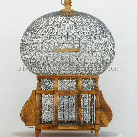 Olive Wood Bird Cage, decorative wooden bird cage