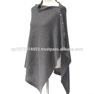 Nepal Made flat knitted button cashmere poncho