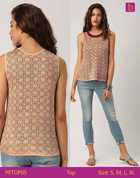 Ladies Blouses & Tops Round Neck Sleeveless Casual Top in Knit with Geometric Prints Casual Woman Tops