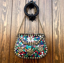 ETHNIC VINTAGE INDIAN MOSAIC METAL CLUTCH