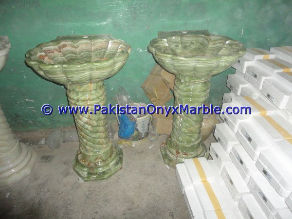 UNIQUE DESIGNS BEST QUALITY ONYX PEDESTALS SINKS BASINS DARK GREEN