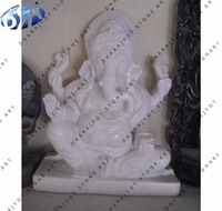 Hand carved white marble ganesha god statue for pooja murti