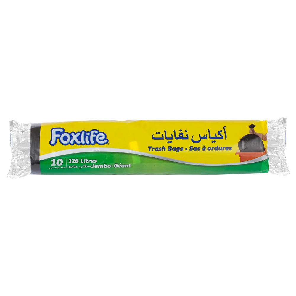 Foxlife 126 Liter plastic LDPE Jumbo size Black color recyclable garbage trash bag for household and cleaning