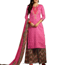 Cotton salwar suit with palazzo pant