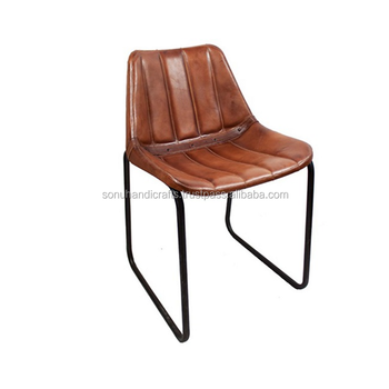 Iron Leather Chair With Comfortable Leather Seat