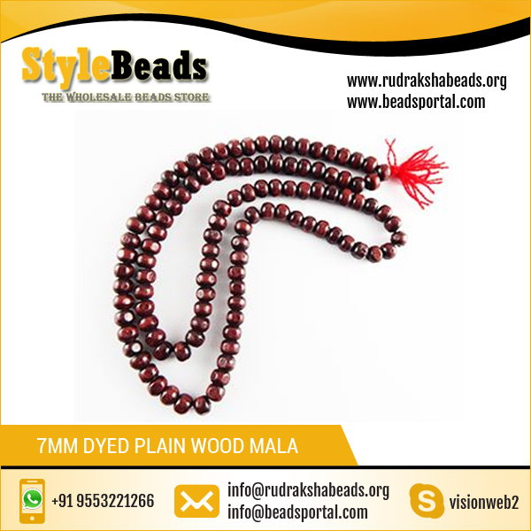 Sandalwood Prayer Beads 7mm Dyed Plain Wood Mala / Prayer Bead