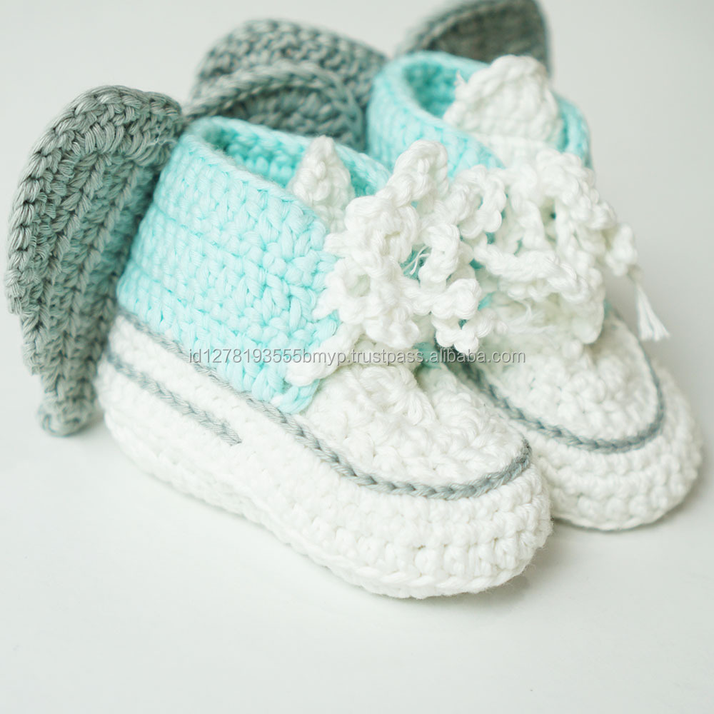 High Quality Blue Mint Colour Baby Shoes Handmade with Wings
